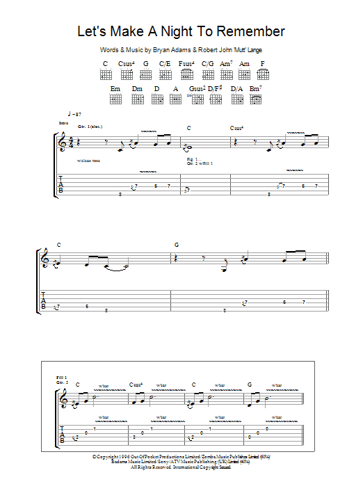 Let's Make A Night To Remember sheet music for guitar solo (tablature) by Robert John Lange