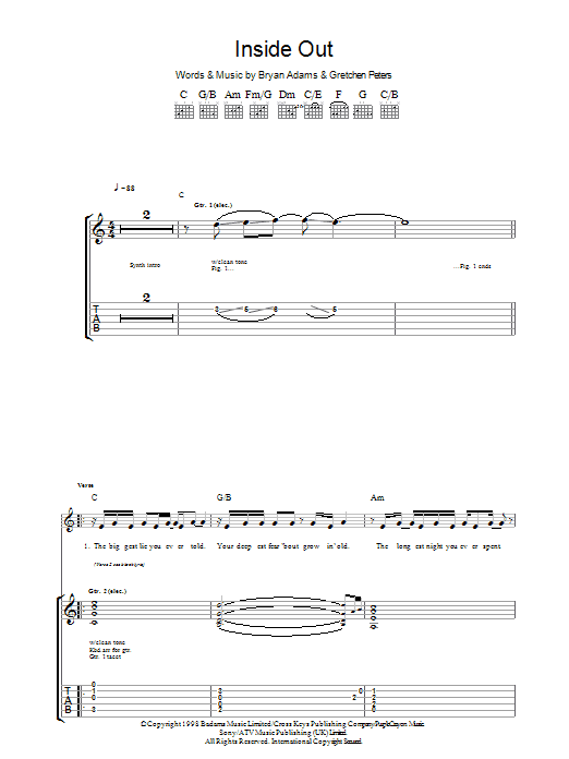 Inside Out sheet music for guitar solo (tablature) by Gretchen Peters