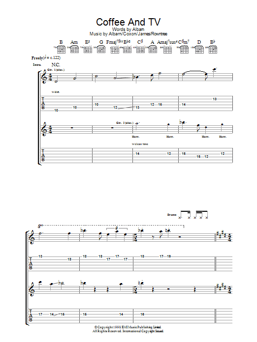 Coffee and TV sheet music for guitar solo (tablature) by Graham Coxon
