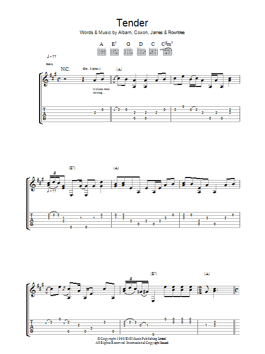 Tender sheet music for guitar solo (tablature) by Graham Coxon