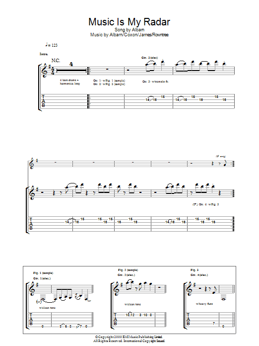 Music Is My Radar sheet music for guitar solo (tablature) by Graham Coxon