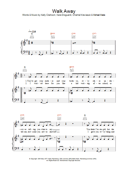 Walk Away sheet music for voice, piano or guitar by Michael Maida