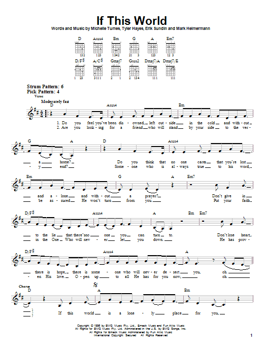 If This World sheet music for guitar solo (chords) by Tyler Hayes-Bieck