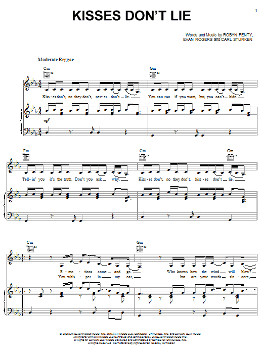 Kisses Don't Lie sheet music for voice, piano or guitar by Robyn Fenty