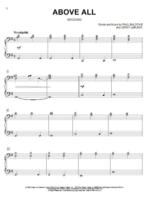 Partition piano Above All de Paul Baloche - 4 mains