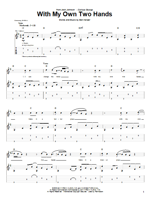 Tablature guitare With My Own Two Hands de Jack Johnson - Tablature Guitare
