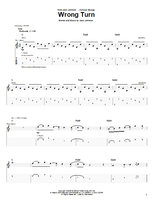 Tablature guitare Wrong Turn de Jack Johnson - Tablature Guitare