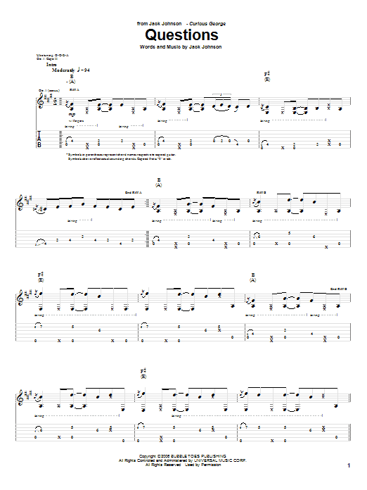 Tablature guitare Questions de Jack Johnson - Tablature Guitare