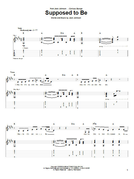 Tablature guitare Supposed To Be de Jack Johnson - Tablature Guitare