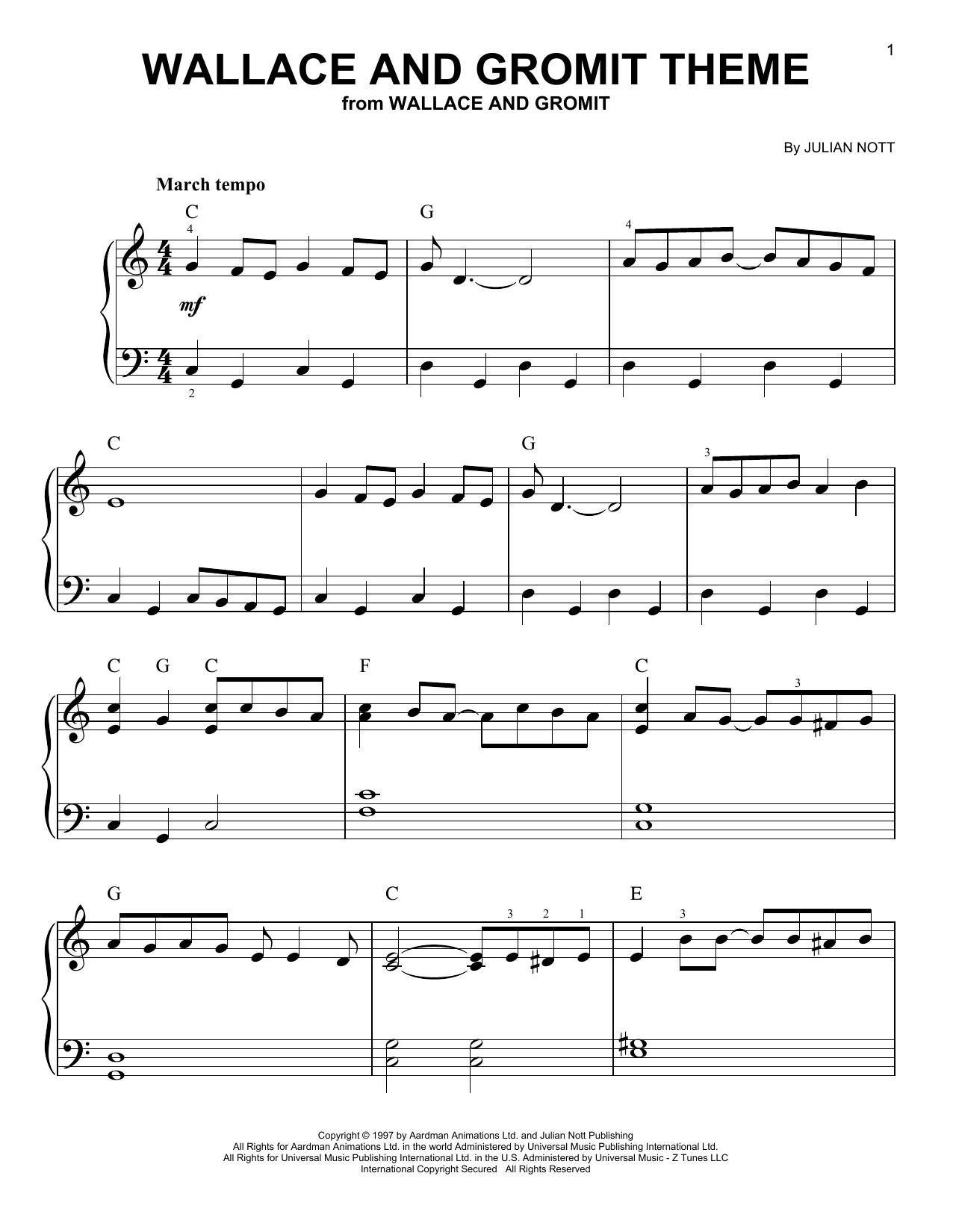 Partition piano Wallace And Gromit Theme de Julian Nott - Piano Facile