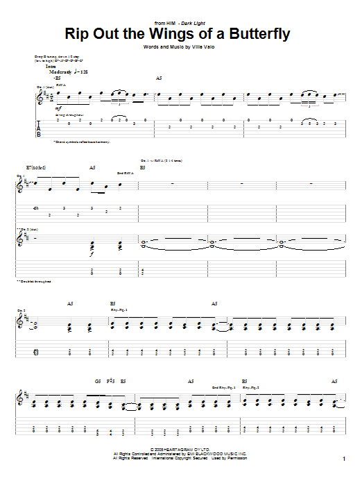 Tablature guitare Rip Out The Wings Of A Butterfly de H.I.M. - Tablature Guitare