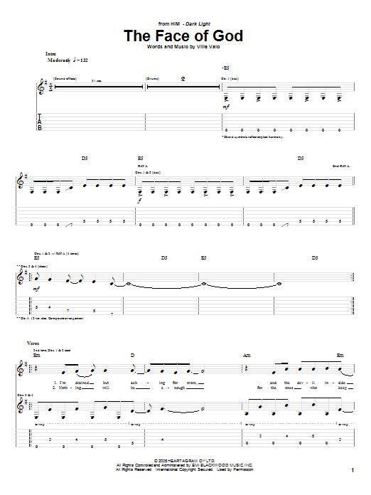 Tablature guitare The Face Of God de H.I.M. - Tablature Guitare