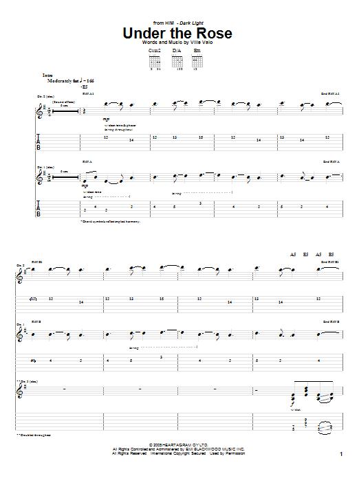 Tablature guitare Under The Rose de H.I.M. - Tablature Guitare