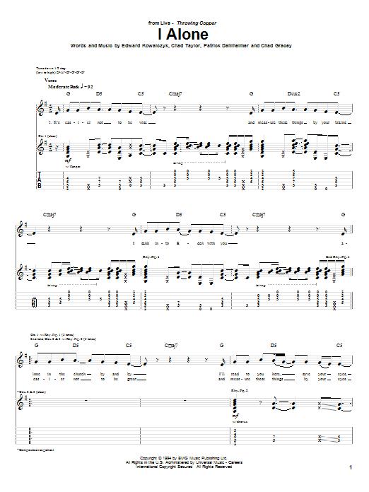 Tablature guitare I Alone de Live - Tablature Guitare