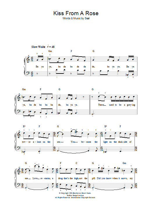 kiss from a rose chords pdf
