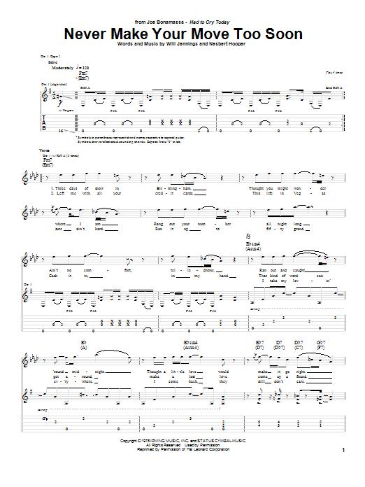Tablature guitare Never Make Your Move Too Soon de Joe Bonamassa - Tablature Guitare