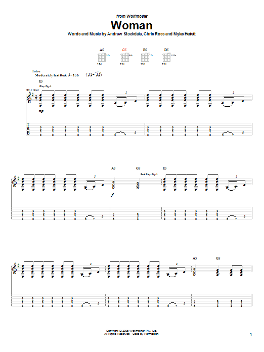 Tablature guitare Woman de Wolfmother - Tablature Guitare