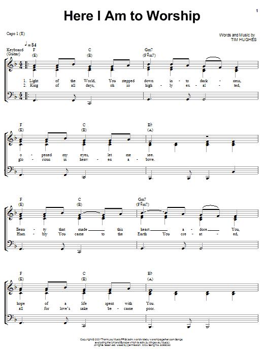 Hillsongs  Here I Am To Worship Chords  AZ Chords