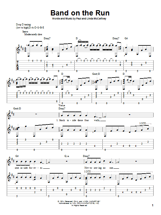 Tablature guitare Band On The Run de Paul McCartney & Wings - Tablature Guitare