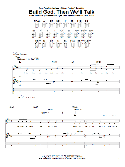 Tablature guitare Build God, Then We'll Talk de Panic! At The Disco - Tablature Guitare