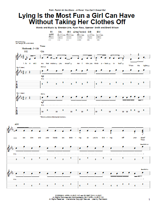 Tablature guitare Lying Is The Most Fun A Girl Can Have Without Taking Her Clothes Off de Panic! At The Disco - Tablature Guitare