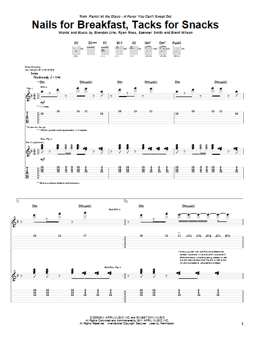 Tablature guitare Nails For Breakfast, Tacks For Snacks de Panic! At The Disco - Tablature Guitare