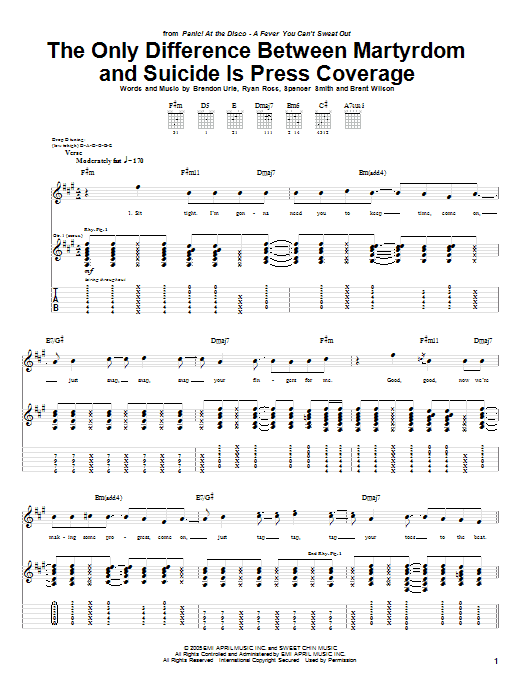 Tablature guitare The Only Difference Between Martyrdom And Suicide Is Press Coverage de Panic! At The Disco - Tablature Guitare