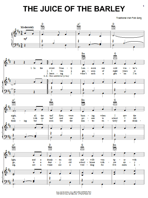 Partition piano The Juice Of The Barley de Traditional Irish Folk Song - Piano Voix Guitare (Mélodie Main Droite)