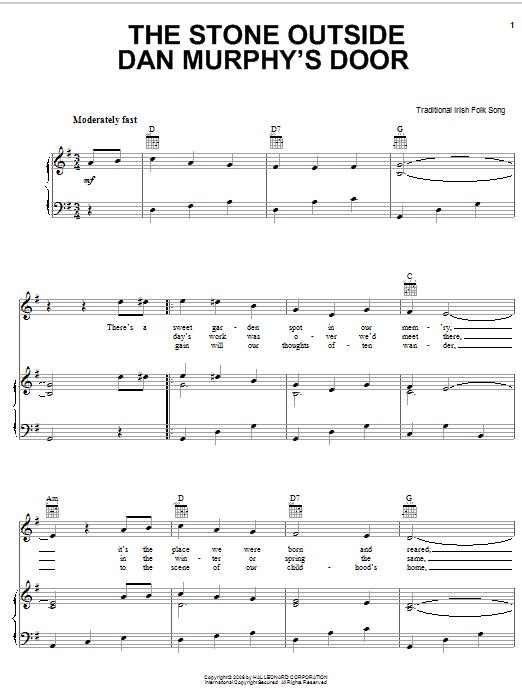 Partition piano The Stone Outside Dan Murphy's Door de Traditional Irish Folk Song - Piano Voix Guitare (Mélodie Main Droite)