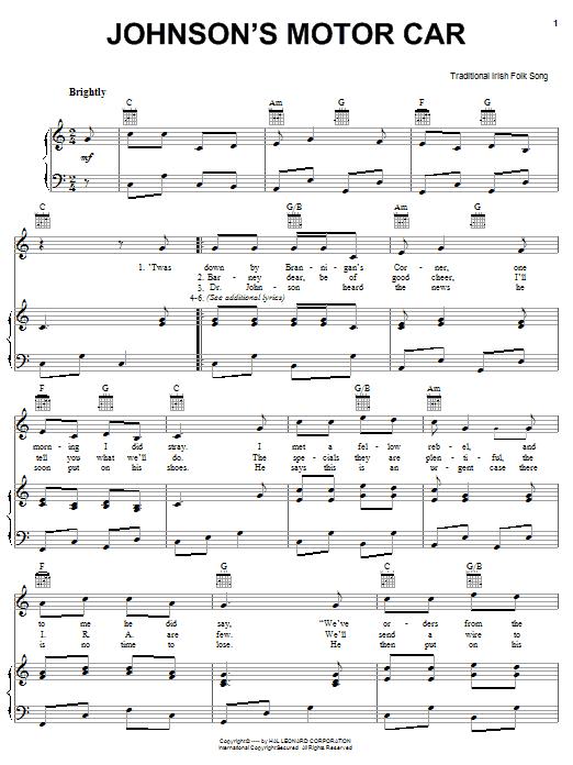 Partition piano Johnson's Motor Car de Traditional Irish Folk Song - Piano Voix Guitare (Mélodie Main Droite)