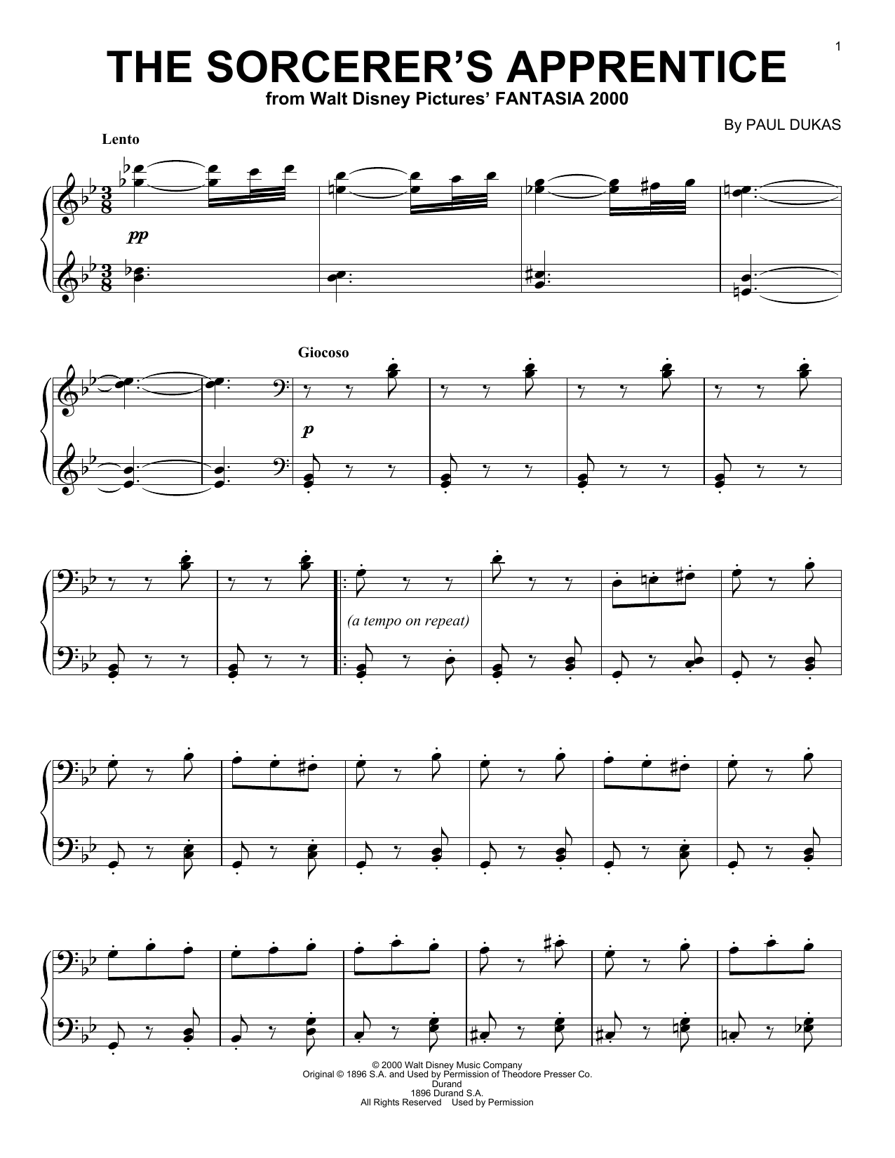 The Sorcerer's Apprentice sheet music for piano solo by Paul Dukas