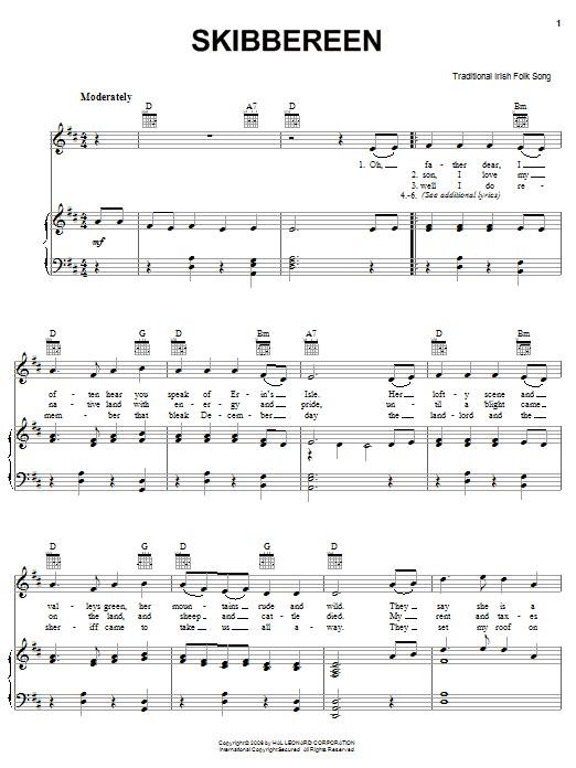 Partition piano Skibbereen de Traditional Irish Folk Song - Piano Voix Guitare (Mélodie Main Droite)