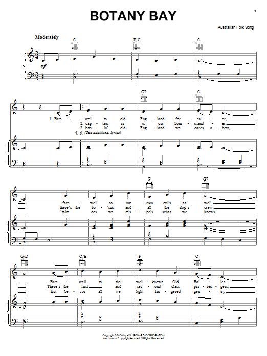Partition piano Botany Bay de Australian Folksong - Piano Voix Guitare (Mélodie Main Droite)