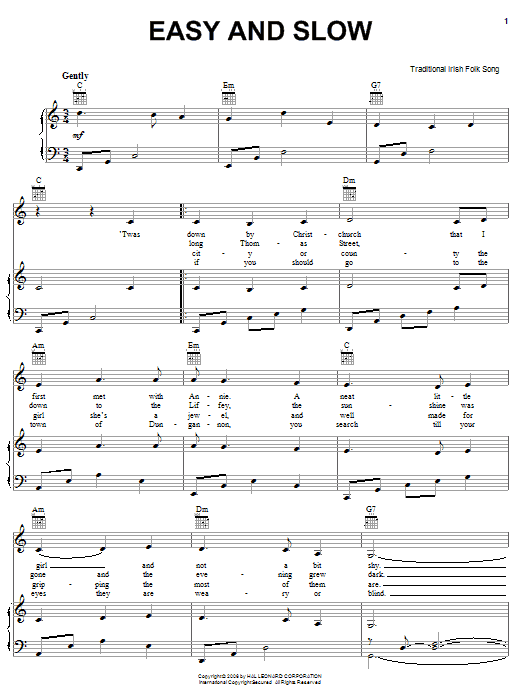 Partition piano Easy And Slow de Traditional Irish Folk Song - Piano Voix Guitare (Mélodie Main Droite)