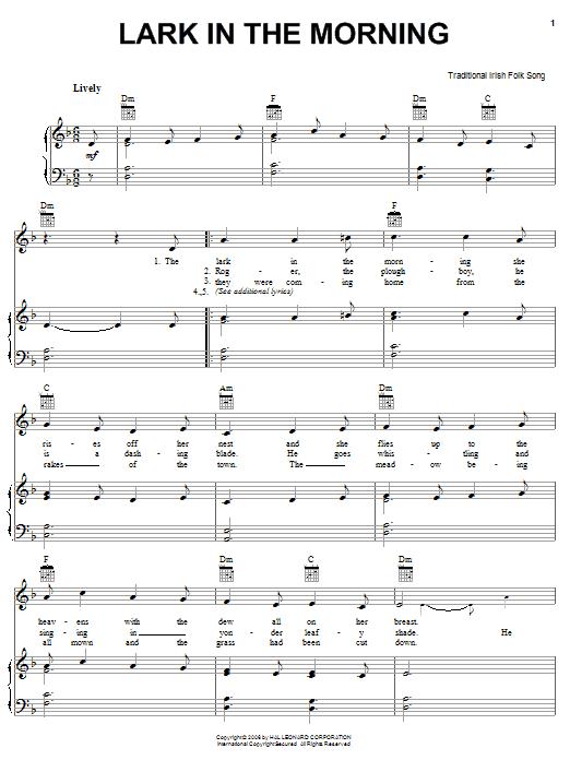 Partition piano Lark In The Morning de Traditional Irish Folk Song - Piano Voix Guitare (Mélodie Main Droite)