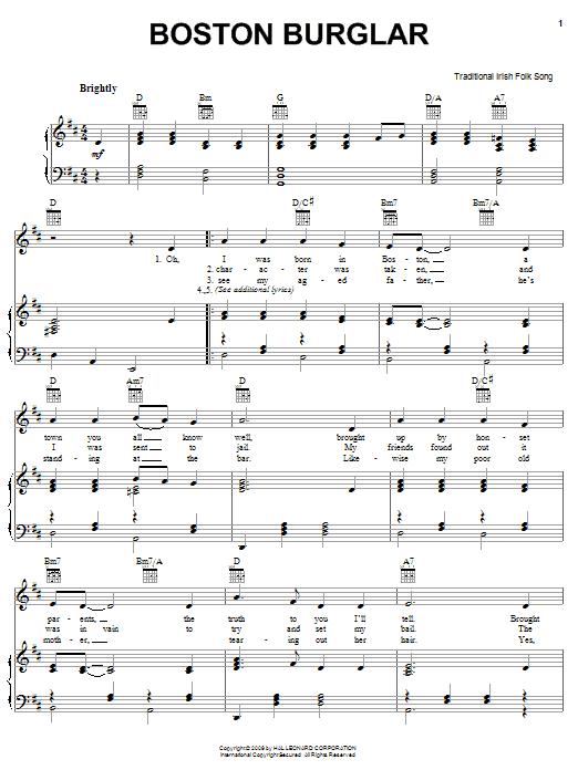 Partition piano Boston Burglar de Traditional Irish Folk Song - Piano Voix Guitare (Mélodie Main Droite)
