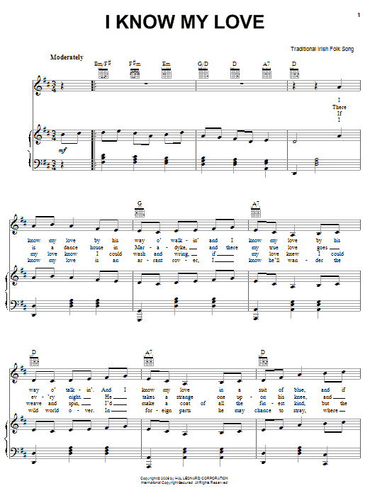 Partition piano I Know My Love de Traditional Irish Folk Song - Piano Voix Guitare (Mélodie Main Droite)