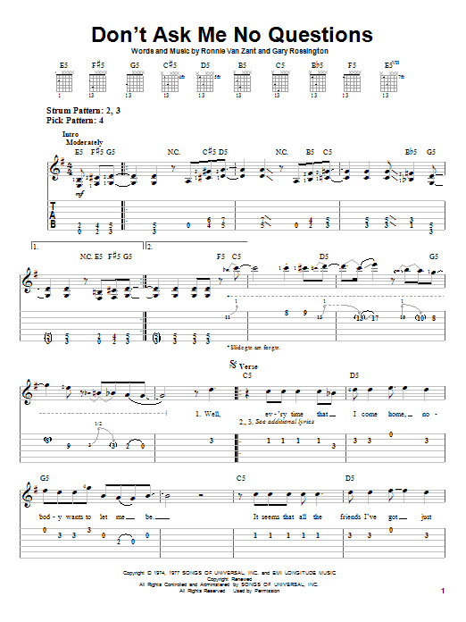 Tablature guitare Don't Ask Me No Questions de Lynyrd Skynyrd - Tablature guitare facile