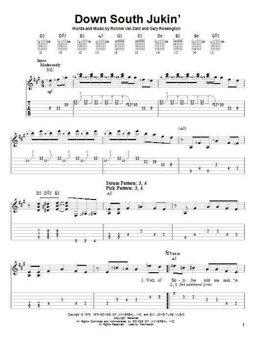 Tablature guitare Down South Jukin' de Lynyrd Skynyrd - Tablature guitare facile