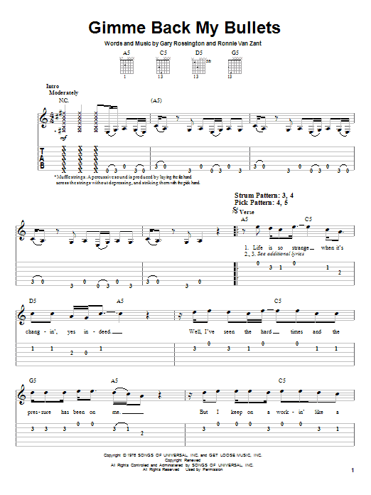 Tablature guitare Gimme Back My Bullets de Lynyrd Skynyrd - Tablature guitare facile