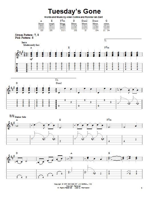 Tablature guitare Tuesday's Gone de Lynyrd Skynyrd - Tablature guitare facile