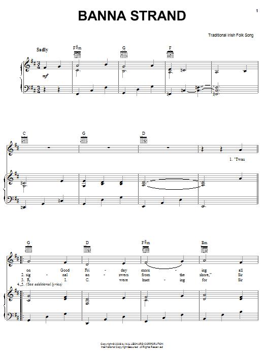 Partition piano Banna Strand de Traditional Irish Folk Song - Piano Voix Guitare (Mélodie Main Droite)