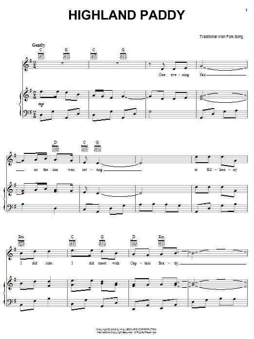 Partition piano Highland Paddy de Traditional Irish Folk Song - Piano Voix Guitare (Mélodie Main Droite)