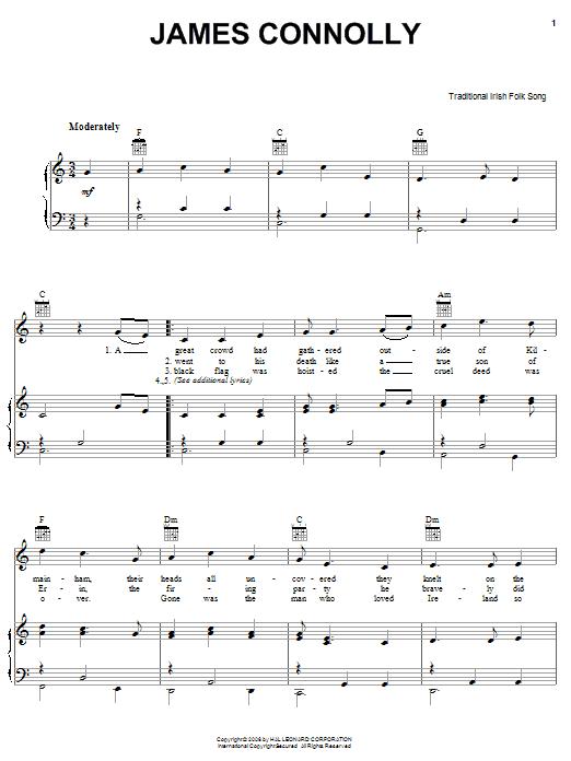 Partition piano James Connolly de Traditional Irish Folk Song - Piano Voix Guitare (Mélodie Main Droite)