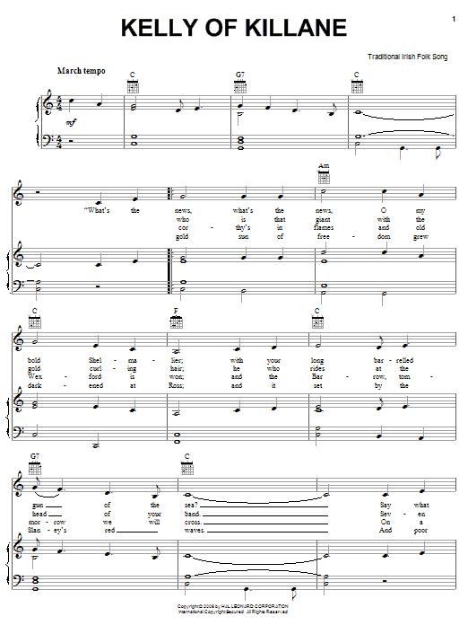 Partition piano Kelly Of Killane de Traditional Irish Folk Song - Piano Voix Guitare (Mélodie Main Droite)