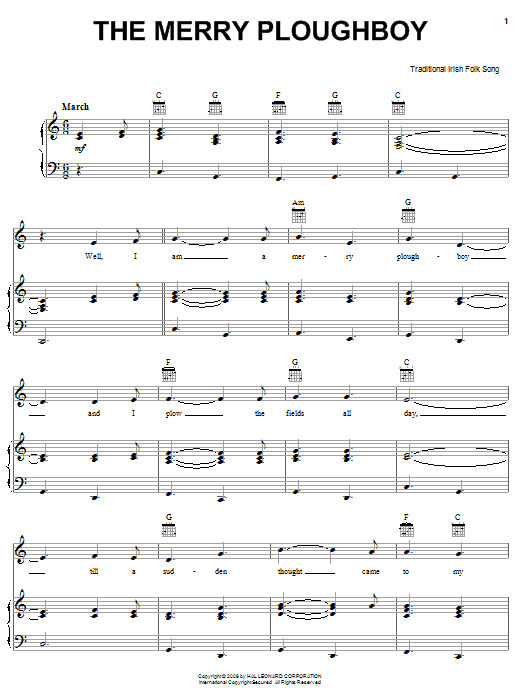 Partition piano The Merry Ploughboy de Traditional Irish Folk Song - Piano Voix Guitare (Mélodie Main Droite)