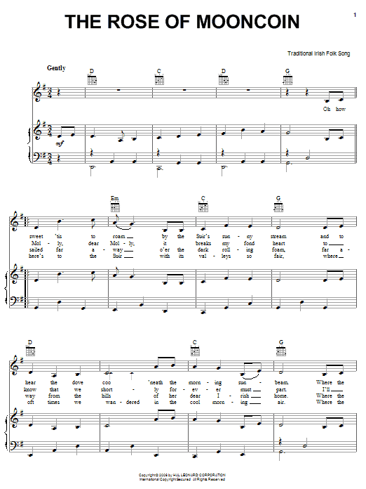 Partition piano The Rose Of Mooncoin de Traditional Irish Folk Song - Piano Voix Guitare (Mélodie Main Droite)