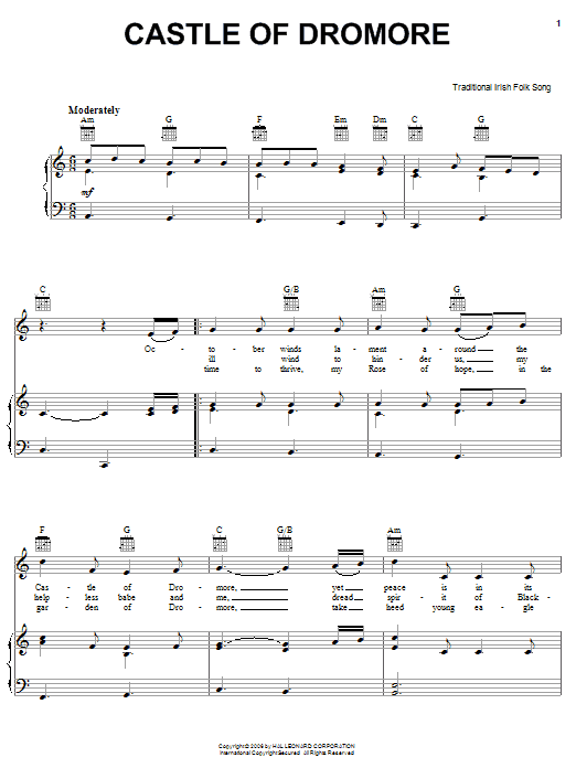 Partition piano Castle Of Dromore de Traditional Irish Folk Song - Piano Voix Guitare (Mélodie Main Droite)