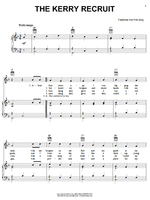 Partition piano The Kerry Recruit de Traditional Irish Folk Song - Piano Voix Guitare (Mélodie Main Droite)