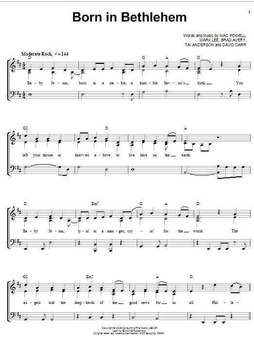 Born in bethlehem sheet music direct
